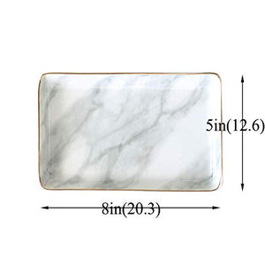 Nordic Style Marble Ceramic Trays Jewelry Display Platelets For Ring Necklace Bedroom Cosmetic Organizer Tableware Snack Plates
