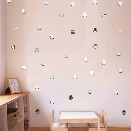 Mirrored Wall Decals Mini 3D Acrylic Mirror Wall Stickers Removable Wall Decals For Bedroom Wall Creative DIY Home Decor Dots Hearts or Squares 100pcs