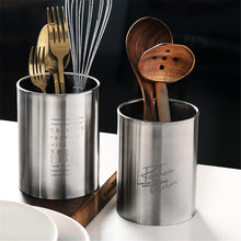 Load image into Gallery viewer, Stainless Steel Cutlery Holder With Engraved Motif Stylish Corrosion Resistant Knife Fork Holder Kitchen Utensils Organizer