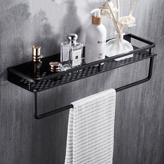 Aluminum Black Bathroom Storage Shelf Shower Rack Black Modern Fixtures And Fittings Bathroom Accessories Storage Rack