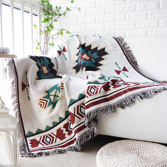 Modern Aztec Geometric Jacquard Sofa Throw Soft Knitted Tassel Sofa Blanket Throw For Sofa / Beds / Travel Nordic Style Home Decor