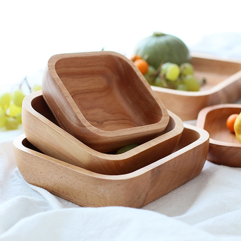 Handcrafted Solid Wood Fruit Bowls For Salad Snacks Wooden Serving Bowls For Kitchen Dining Room Wooden Tableware 4 Sizes