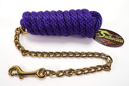 Southwestern Equine Basic Braided Poly Lead Rope with Chain and Brass Plated Snaps