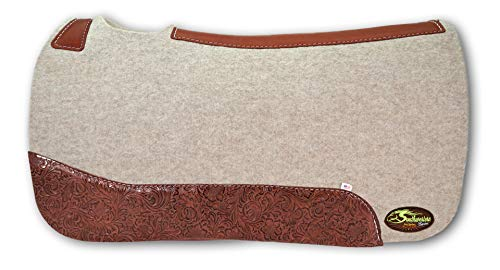 "The Montana 100% Extra Fine Wool Saddle Pad by Southwestern 3/4"" or 1"" Thick and Designer Wear Leather"