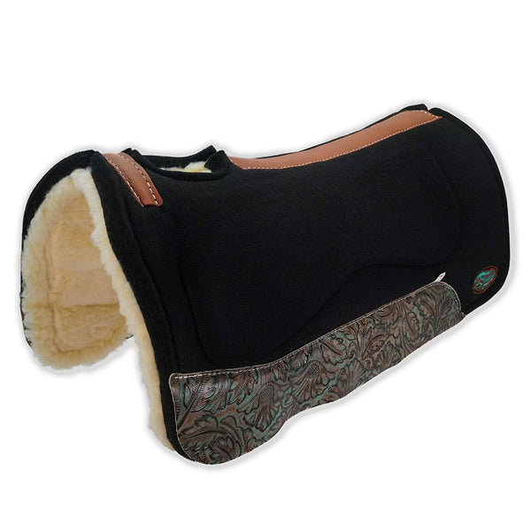 OrthoRide All Purpose Black Wool with Fleece Bottom Saddle Pad