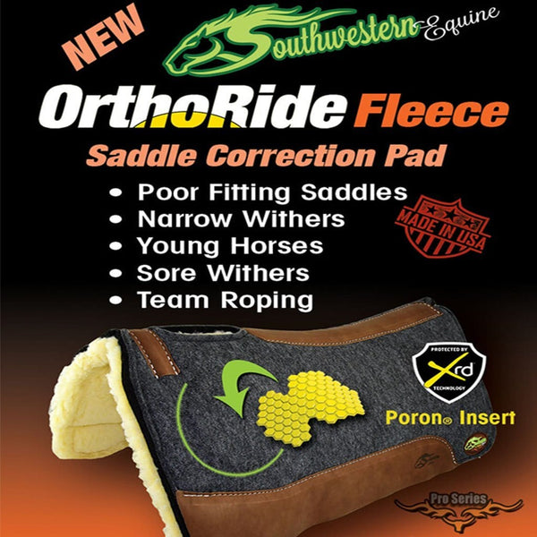 Orthoride Western Saddle pad with Fleece Bottom By Southwestern Equine