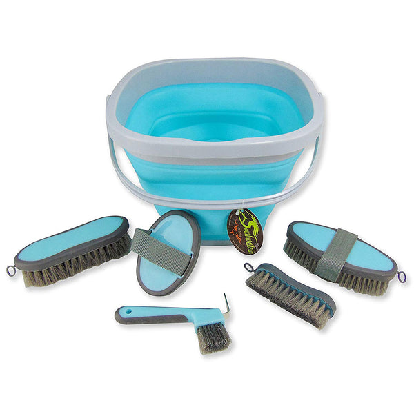 Collapsible Grooming Kit with 10 Liter Bucket and 5 Grooming Tools - Turquoise