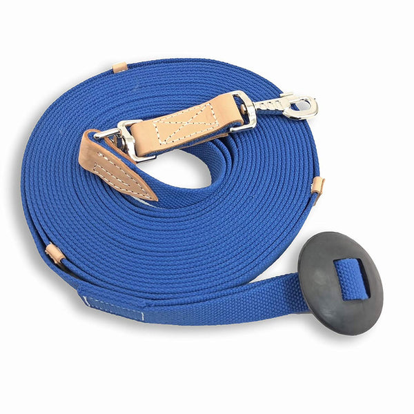 35' Flat Cotton Web Lunge Line With Swivel, Bolt Snap and Rubber Stop