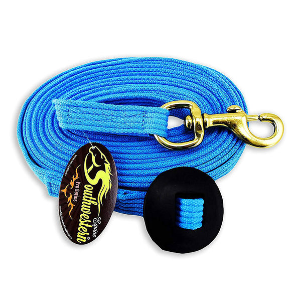Southwestern Equine Flat Cotton Lunge Line Hardware trigger snap Brass Rubber Stop