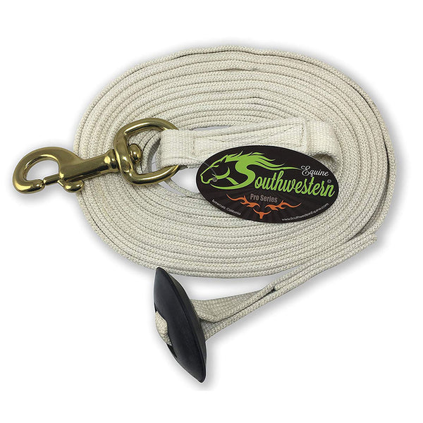Southwestern Equine 24' Flat Cotton Web Lunge Line with Bolt Snap & Rubber Stop