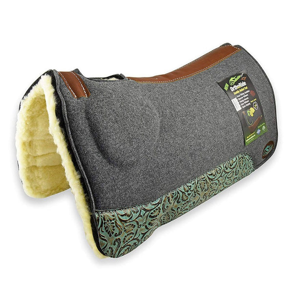 Southwestern Equines Orthoride Western Saddle Pad With Fleece Bottom and Turquoise Bloom Wear Leathers
