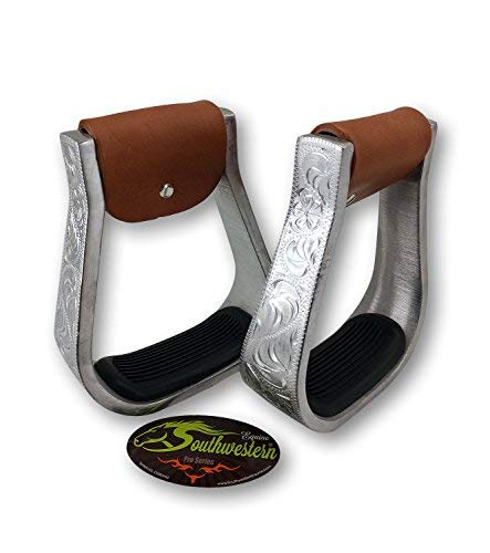 Aluminum Engraved Western Stirrups with Rubber Pads