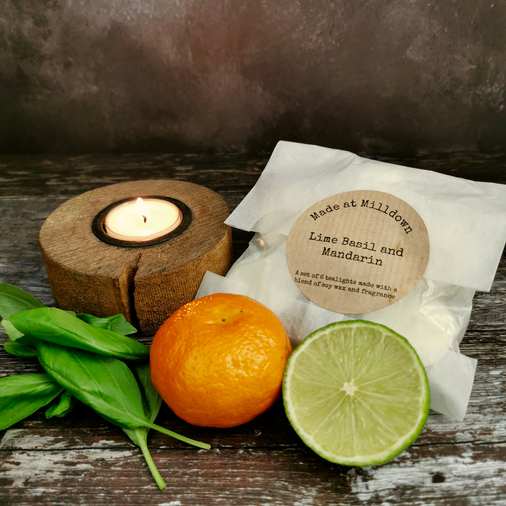 LIME, BASIL AND MANDARIN TEA LIGHTS