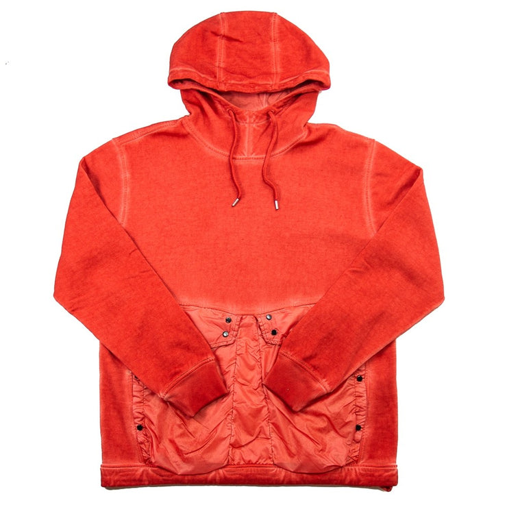 Cotton Fleece Mixed Old Dyed Rubber Mix Hooded Sweat (Pureed Pumpkin)