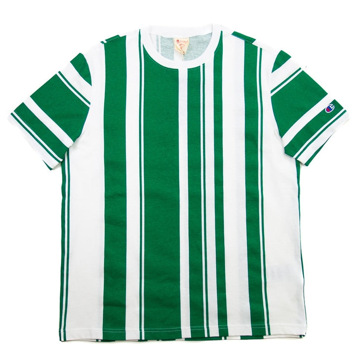 Reverse Weave Crewneck T Shirt (Green Stripe)