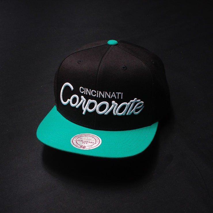 Corporate x Mitchell and Ness Snapback (Black/Teal)