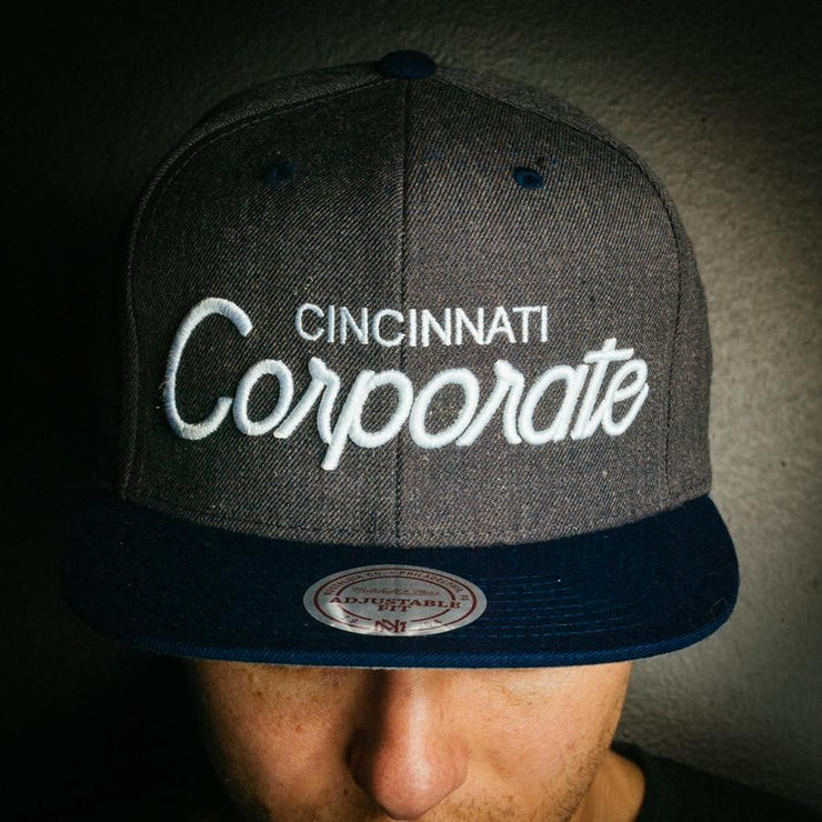 Corporate X Mitchell and Ness Snapback (Grey/Navy)