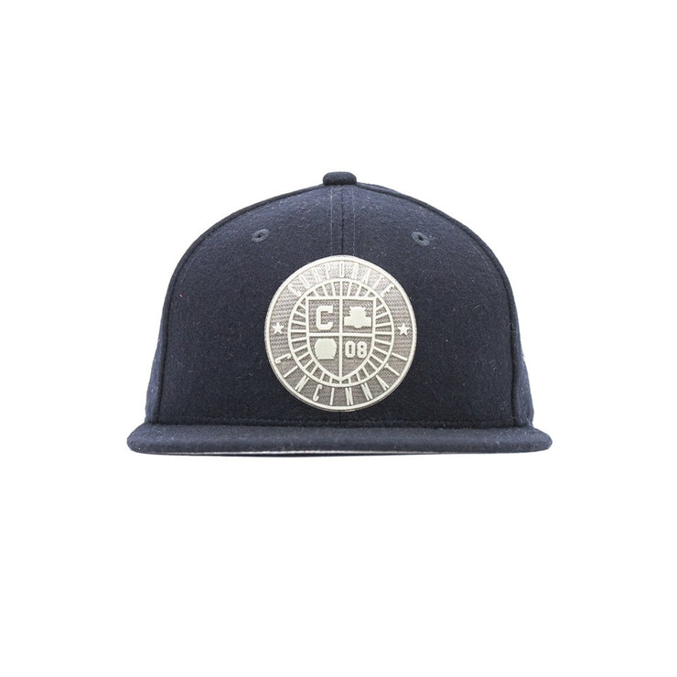Crest Wool Fitted Cap (Navy)