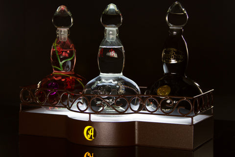 AsomBroso Tequila 3 Bottle lighted custom hand made stand