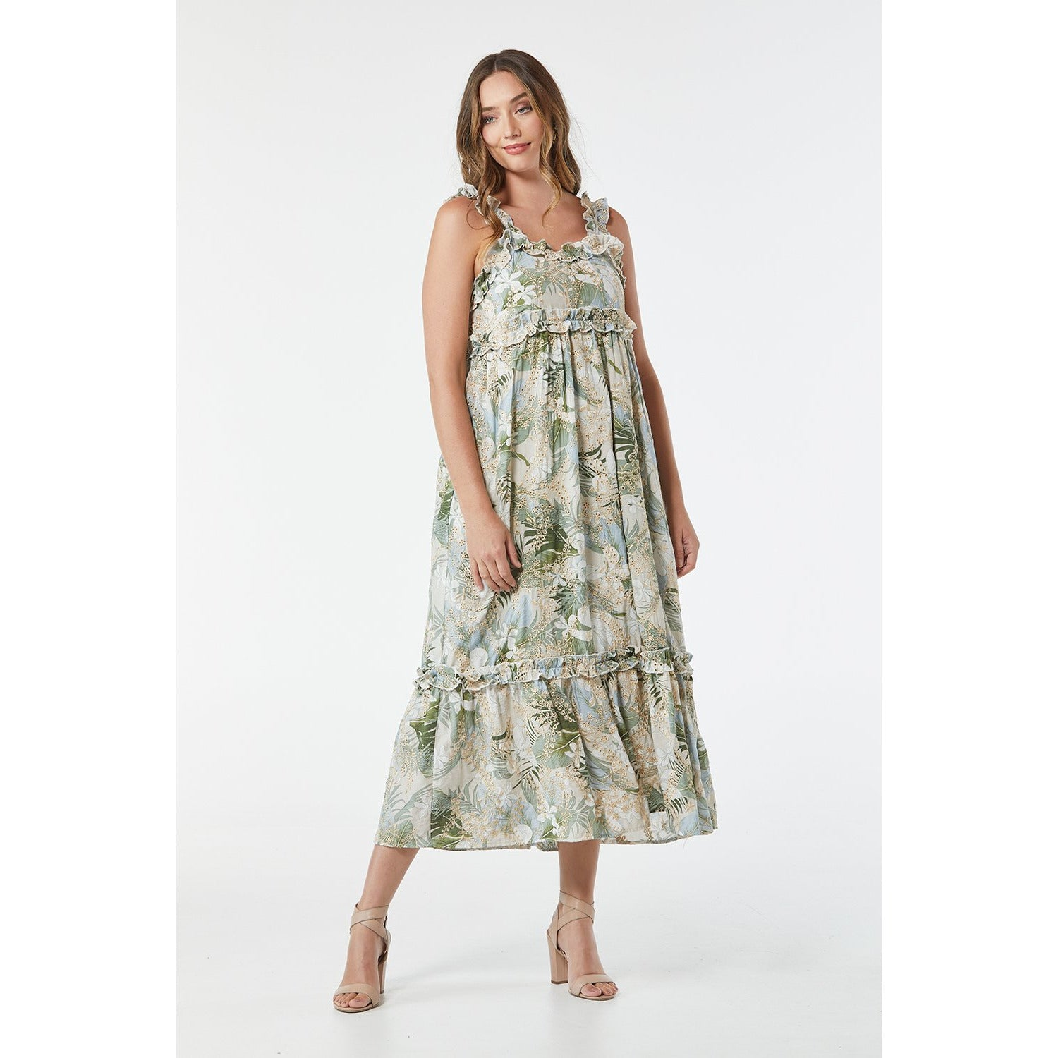 365 Days Garden Party Multi Green Sun Dress