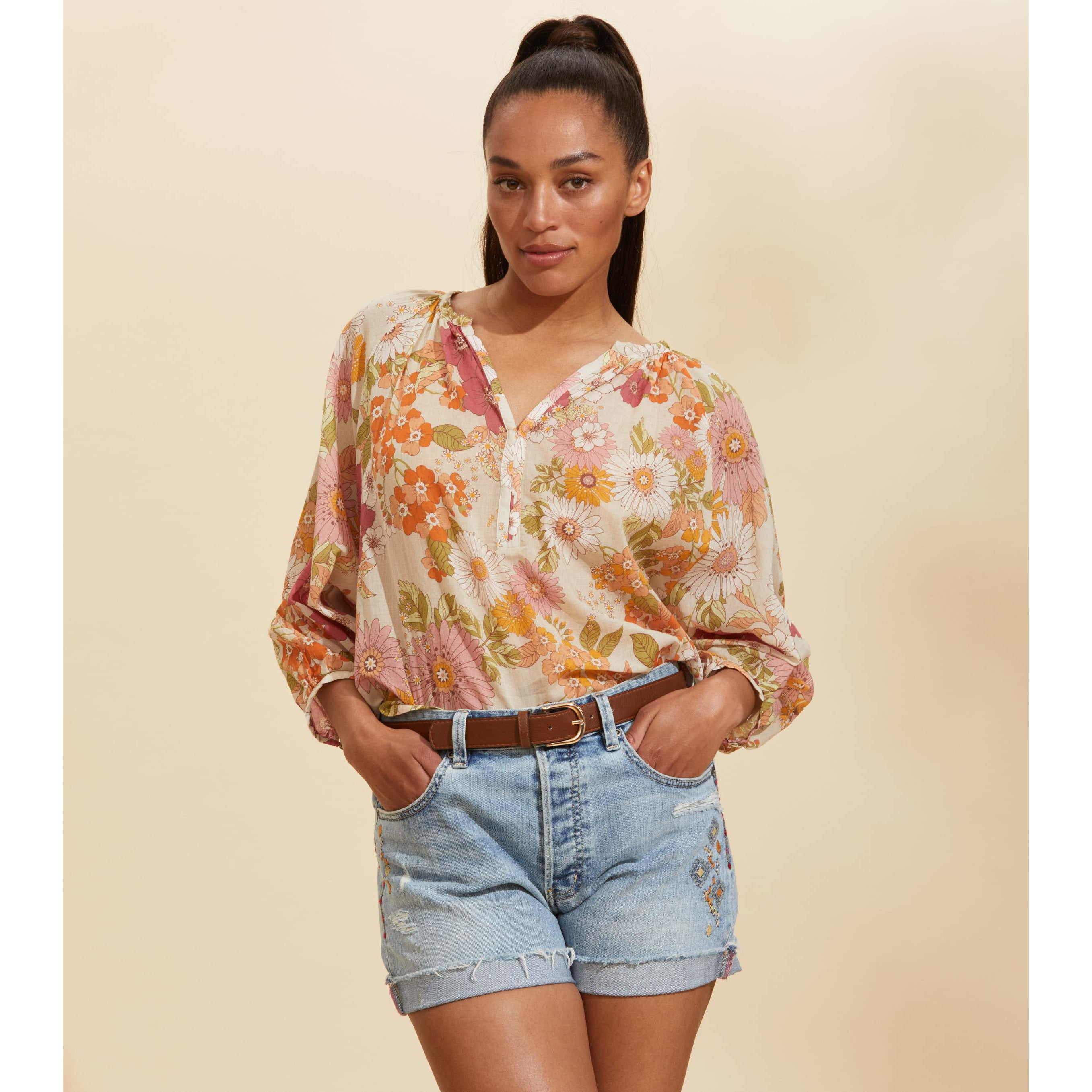 Odd Molly Run with the Sun Cactus Flower Blouse