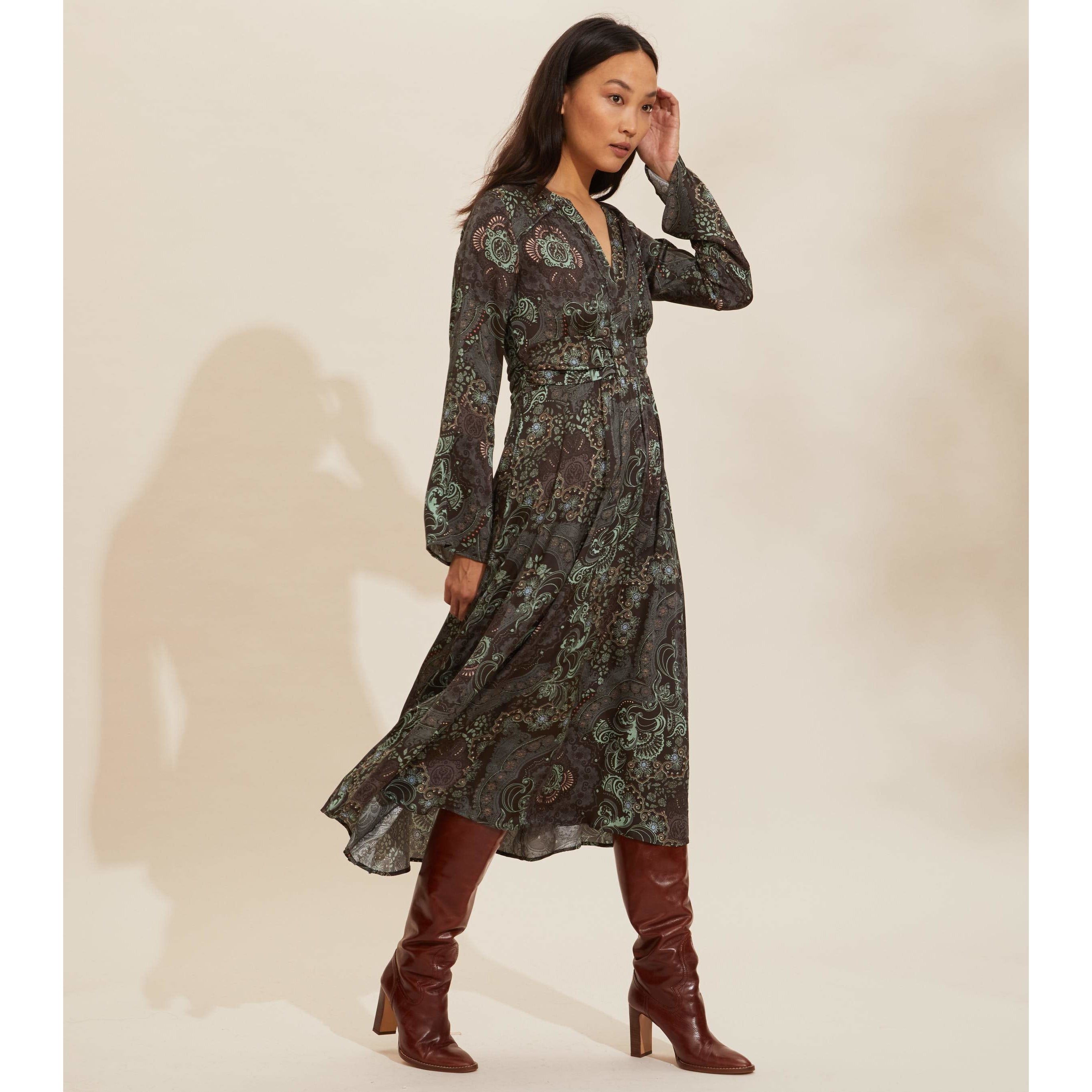 Odd Molly Amelie Long Dress Deep Asphalt