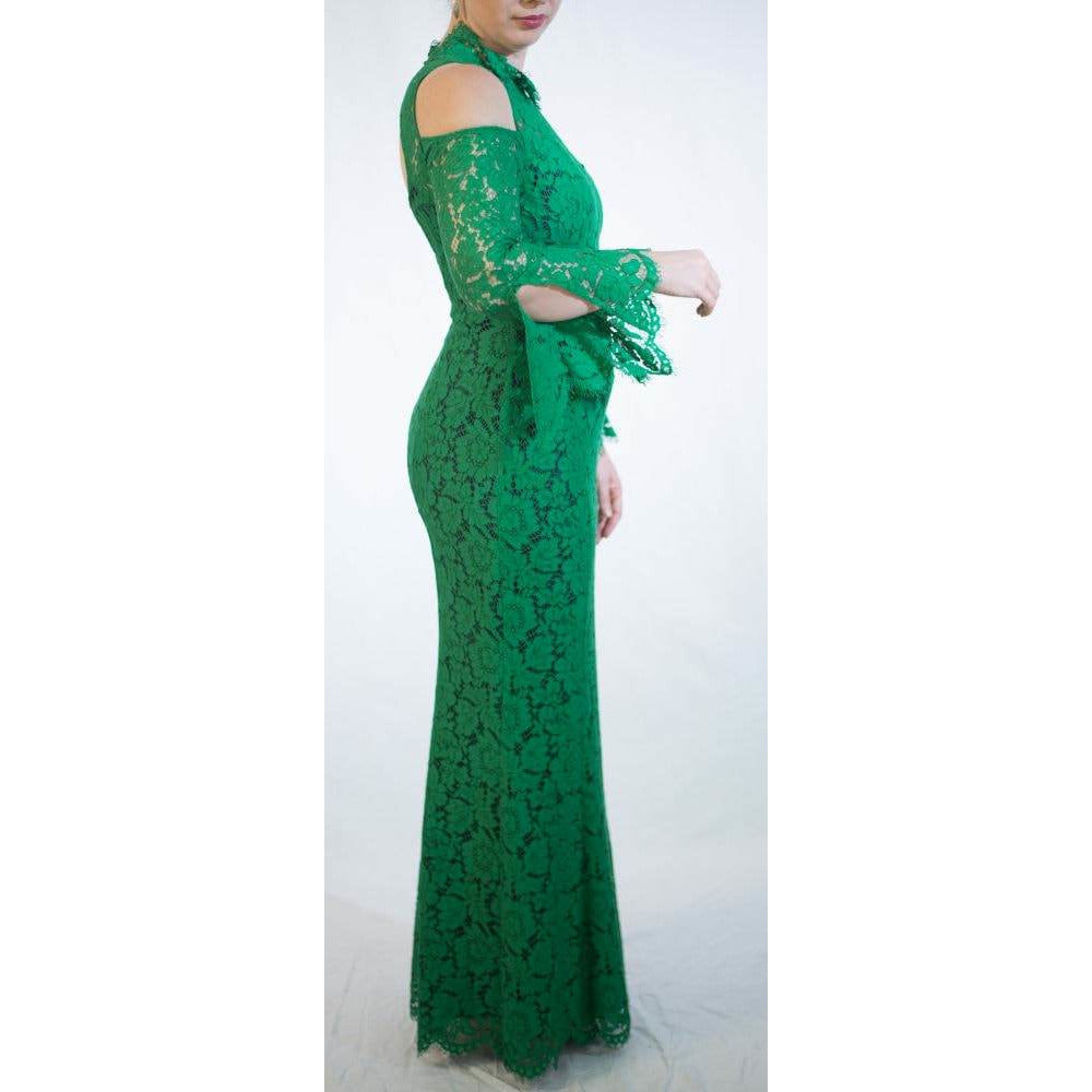 Moss and Spy Emerald Green Lace gown Size 12