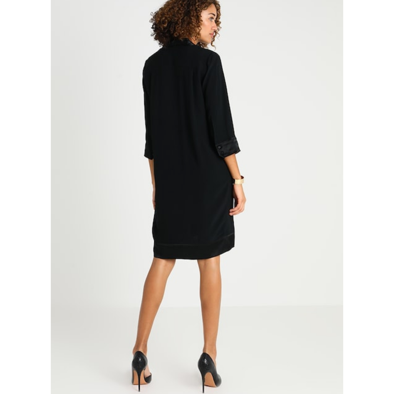 Noa Noa Dressy crepe Satin Edge Dress in Black (NN1-88651)  Also available in Plum