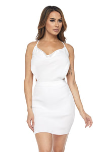 White Ribbed Backless Mini Dress