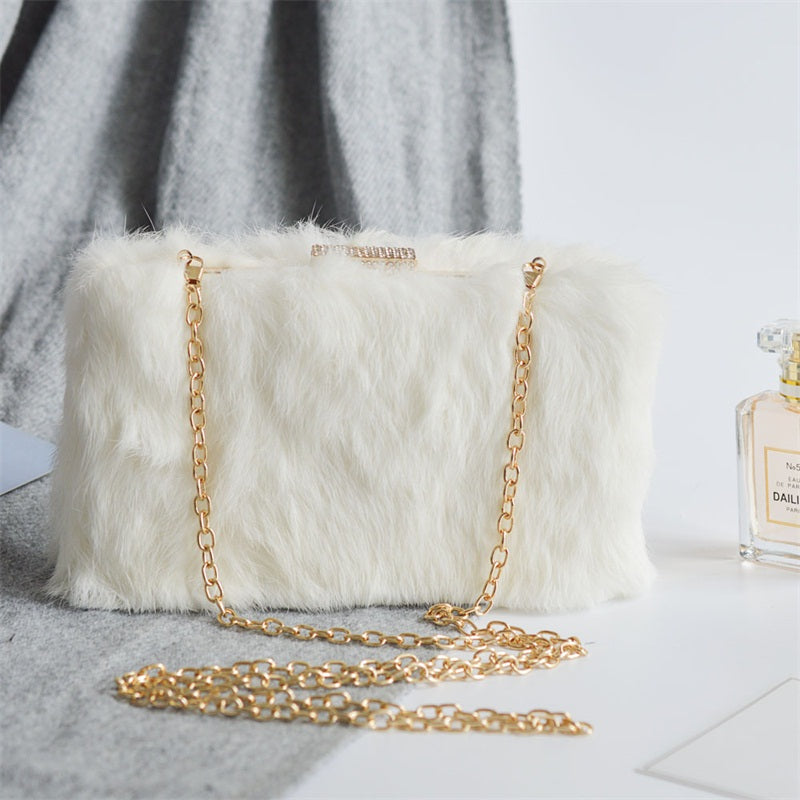 The White Faux Fur Clutch