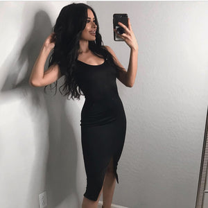 The Black Slit Midi Dress