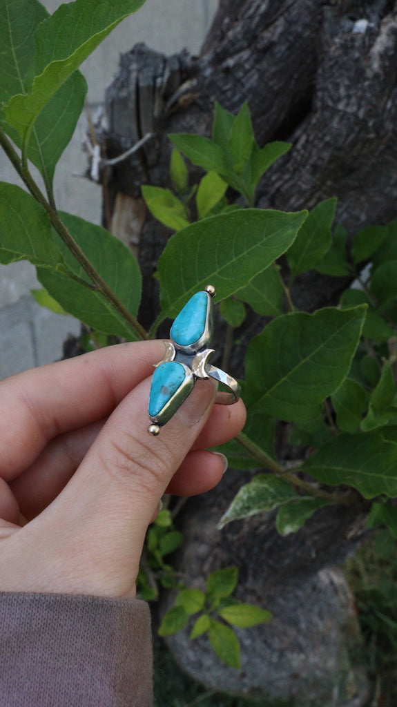 Gold and silver turquoise ring- 6 1/4