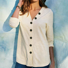 Load image into Gallery viewer, V-Neck Button Solid Casual Long Sleeve Open Front Coat