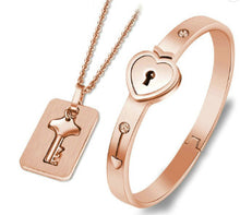 Load image into Gallery viewer, Couple's Concentric Lock Necklace Bracelet