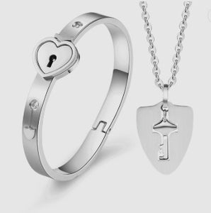Couple's Concentric Lock Necklace Bracelet