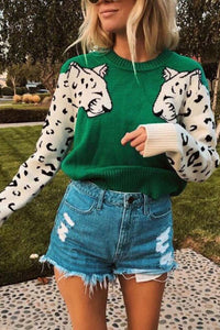 Last Day Promotion🔥Beriful Snow Leopard Design Knit Sweater【Buy 2 free shipping】