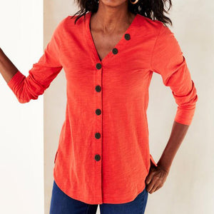 V-Neck Button Solid Casual Long Sleeve Open Front Coat