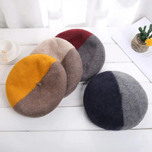 Load image into Gallery viewer, Fashionable Winter Two-Color Woolen Beret Hats