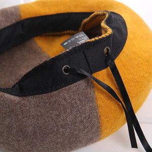 Fashionable Winter Two-Color Woolen Beret Hats
