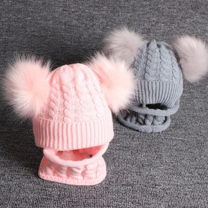 Winer Fashion Cute Winter Pompom Beanie And Scarf For Kids - Cute Winter Pompom Beanie And Scarf For Kids