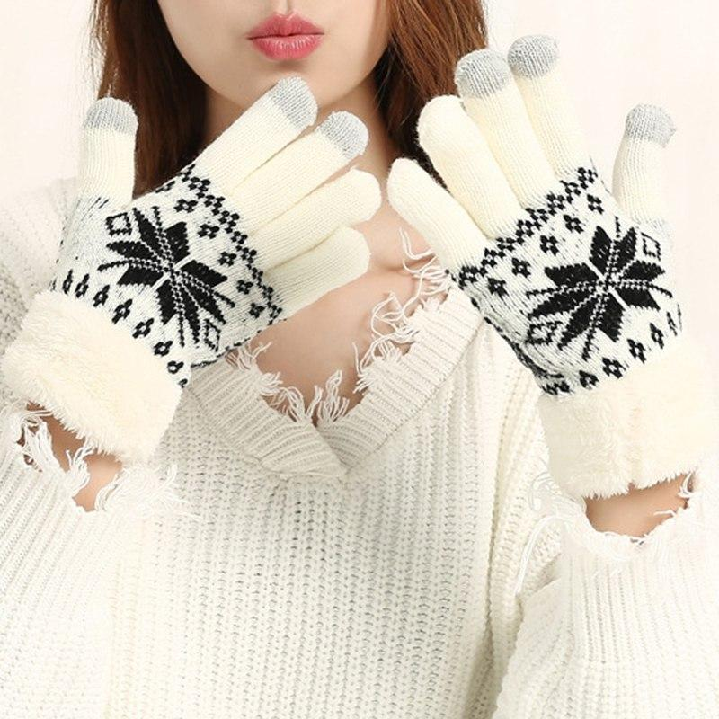 Winter Fashion Snowflake Thick Cashmere Two-layered Winter Gloves - Snowflake Thick Cashmere Two-layered Winter Gloves