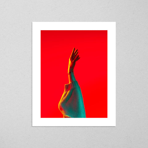 Untitled (Reaching), colourful and cinematic photography fine art giclée print on Hahnemühle Pearl paper by Adrian Wojtas