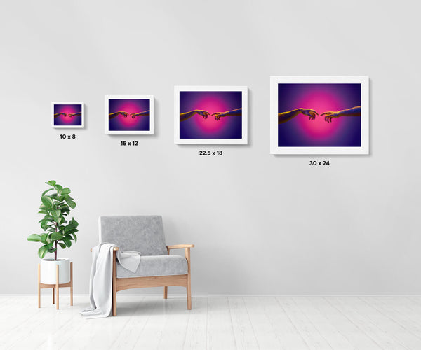 Artwork size comparison chart for Soon Every Touch Will Be Divine, colourful and conceptual photography fine art giclée print on Hahnemühle Pearl paper by Adrian Wojtas