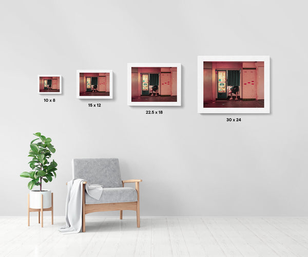 Artwork size comparison chart for Photomaton in Paris, cinematic street photography fine art giclée print on Hahnemühle Pearl paper by Adrian Wojtas