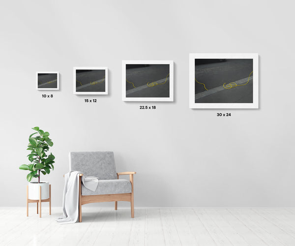 Artwork size comparison chart for Untitled (Paris), cinematic street photography fine art giclée print on Hahnemühle Pearl paper by Adrian Wojtas