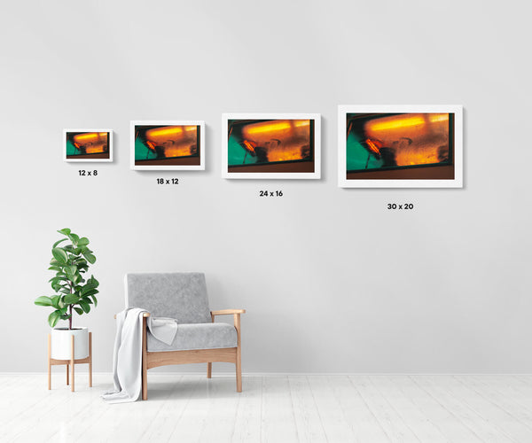 Artwork size comparison chart for Untitled (Dublin), moody and cinematic photography fine art giclée print on Hahnemühle Pearl paper by Adrian Wojtas