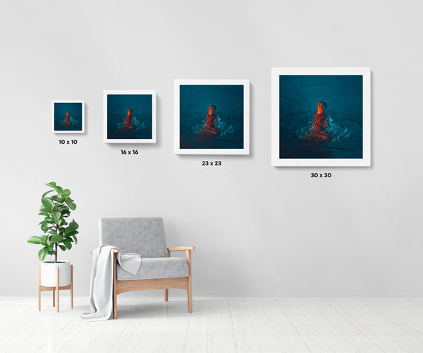 Artwork size comparison chart for Seven Seas, moody and cinematic photography fine art giclée print on Hahnemühle Pearl paper by Adrian Wojtas