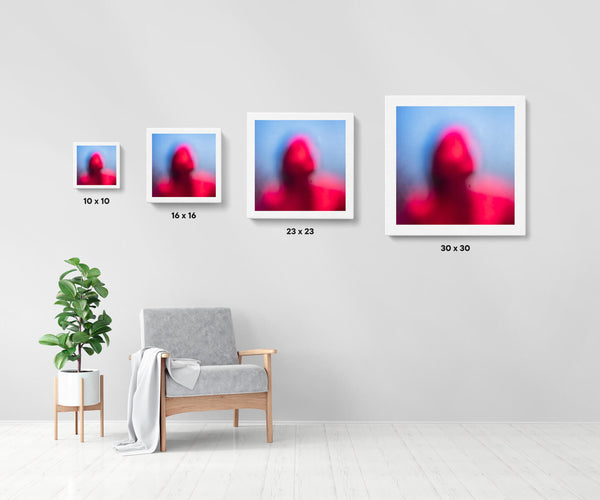 Artwork size comparison chart for Call Home, colourful abstract photography fine art giclée print on Hahnemühle Pearl paper by Adrian Wojtas