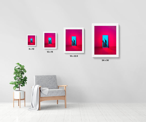 Artwork size comparison chart for Full Recovery, colourful and cinematic photography fine art giclée print on Hahnemühle Pearl paper by Adrian Wojtas
