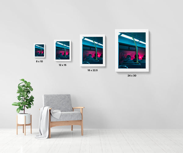 Artwork size comparison chart for Dublin Bus, moody and cinematic photography fine art giclée print on Hahnemühle Pearl paper by Adrian Wojtas